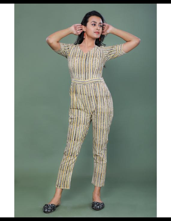 Kalamkari cotton maroon striped jumpsuit : JS100A-M-4