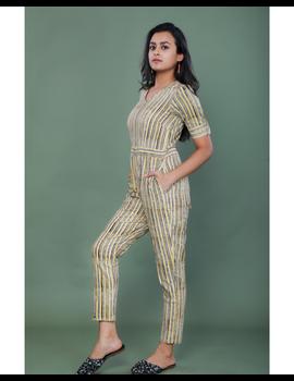 Kalamkari cotton maroon striped jumpsuit : JS100A-S-1-sm