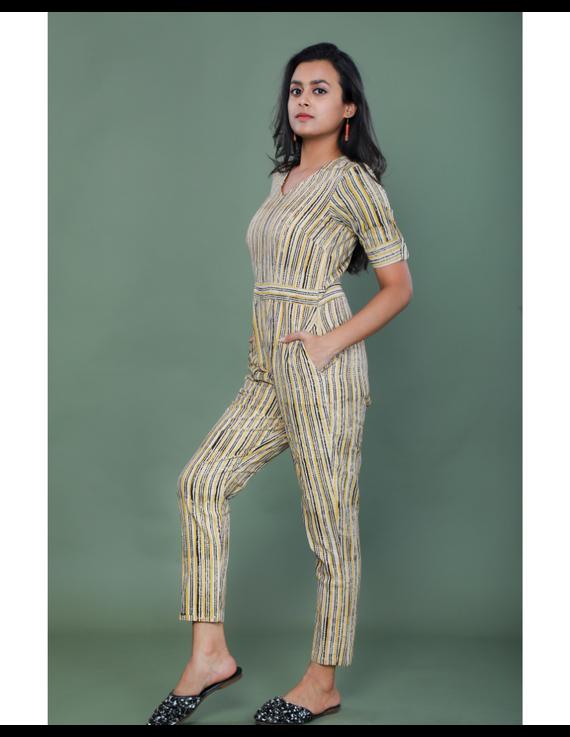 Kalamkari cotton maroon striped jumpsuit : JS100A-S-1