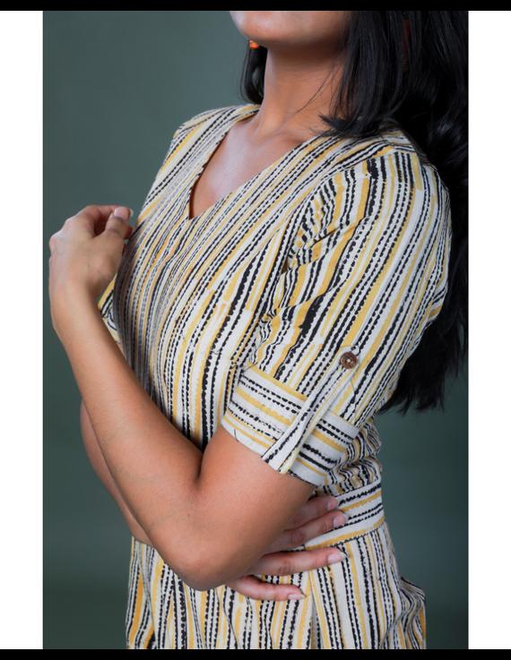 Kalamkari cotton maroon striped jumpsuit : JS100A-S-3