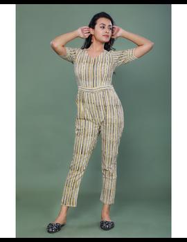 Kalamkari cotton maroon striped jumpsuit : JS100A-M-1-sm