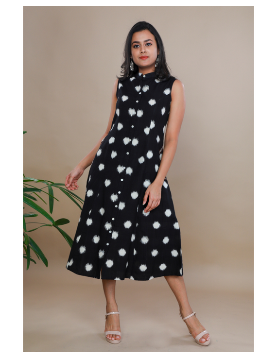 A LINE BLACK DOUBLE IKAT DRESS WITH EMBROIDERED POCKETS : LD310C-LD310C-S