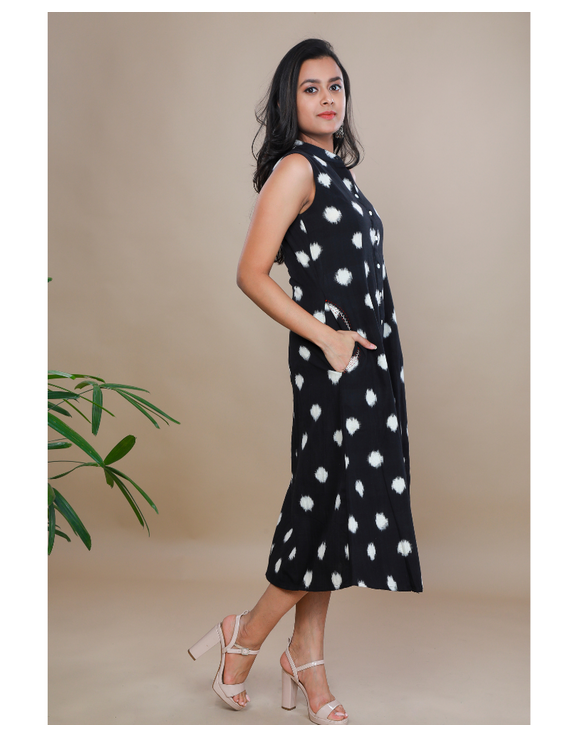 A LINE BLACK DOUBLE IKAT DRESS WITH EMBROIDERED POCKETS : LD310C-XS-1