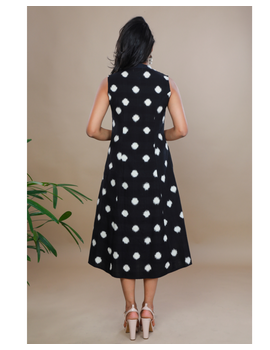 A LINE BLACK DOUBLE IKAT DRESS WITH EMBROIDERED POCKETS : LD310C-XS-2-sm