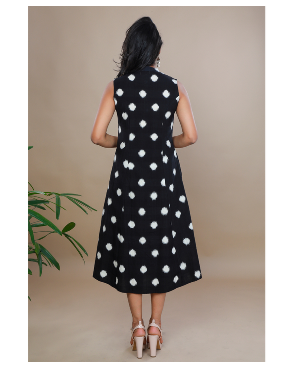 A LINE BLACK DOUBLE IKAT DRESS WITH EMBROIDERED POCKETS : LD310C-XS-2
