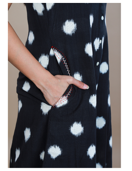 A LINE BLACK DOUBLE IKAT DRESS WITH EMBROIDERED POCKETS : LD310C-XS-4-sm