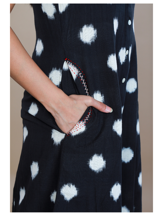 A LINE BLACK DOUBLE IKAT DRESS WITH EMBROIDERED POCKETS : LD310C-XS-4