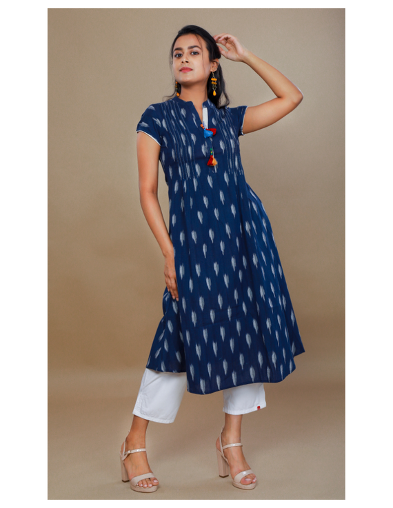 NAVY BLUE A LINE IKAT DRESS WITH PINTUCKS: LD340B-L-1