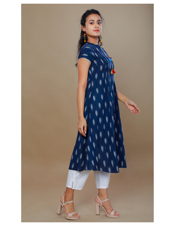 NAVY BLUE A LINE IKAT DRESS WITH PINTUCKS: LD340B-L-2