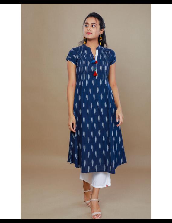 NAVY BLUE A LINE IKAT DRESS WITH PINTUCKS: LD340B-LD340B-M