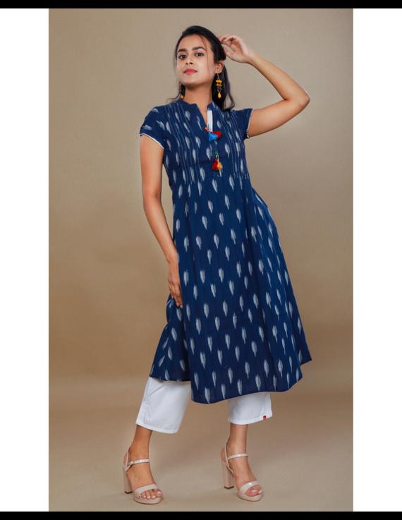 NAVY BLUE A LINE IKAT DRESS WITH PINTUCKS: LD340B-M-1