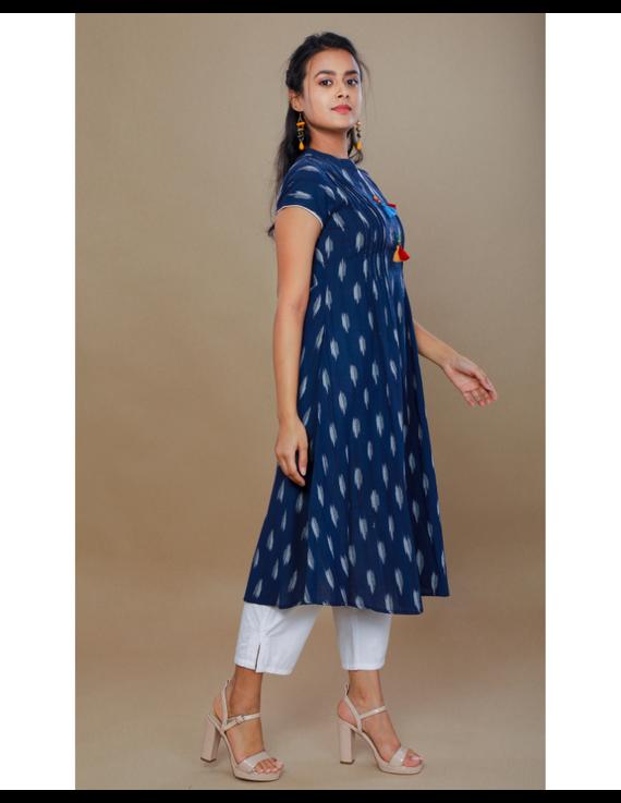 NAVY BLUE A LINE IKAT DRESS WITH PINTUCKS: LD340B-M-2