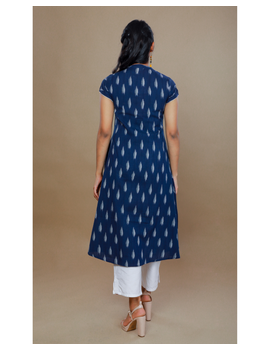 NAVY BLUE A LINE IKAT DRESS WITH PINTUCKS: LD340B-M-3-sm