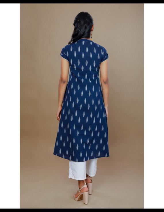NAVY BLUE A LINE IKAT DRESS WITH PINTUCKS: LD340B-M-3