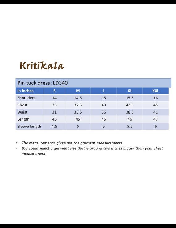 NAVY BLUE A LINE IKAT DRESS WITH PINTUCKS: LD340B-M-4