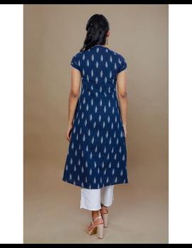 NAVY BLUE A LINE IKAT DRESS WITH PINTUCKS: LD340B-S-3-sm