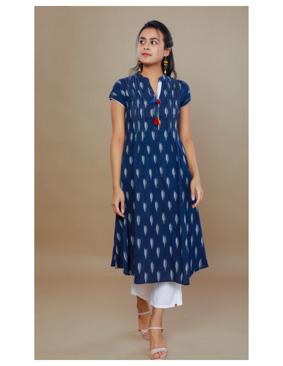 NAVY BLUE A LINE IKAT DRESS WITH PINTUCKS: LD340B-LD340B-XS
