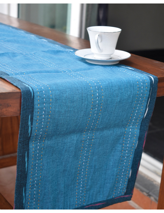 Blue And Pink Reversible Ikat Table Runners : HTR01-13 x 72-1