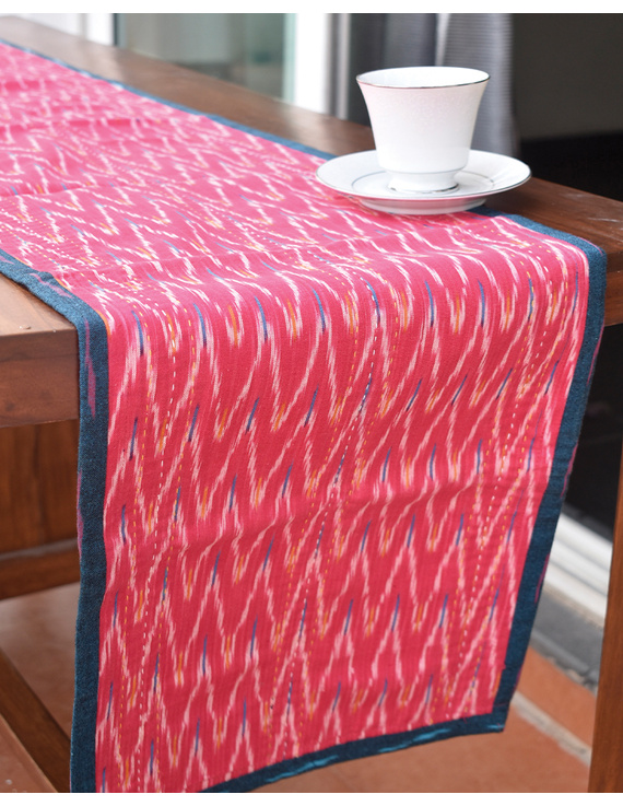 Blue And Pink Reversible Ikat Table Runners : HTR01-HTR01gM