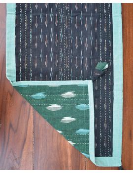 Green And Black Ikat Reversible Table Runner : HTR02-13 x 60-2-sm