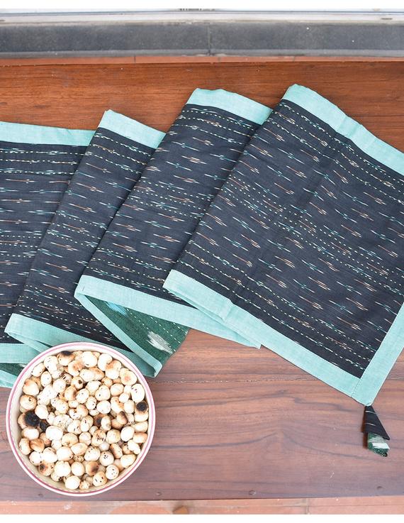 Green And Black Ikat Reversible Table Runner : HTR02-13 x 60-3