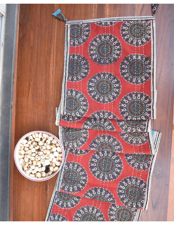 Red And Blue Embroidered Reversible Table Runner : HTR03-13 x 72-3