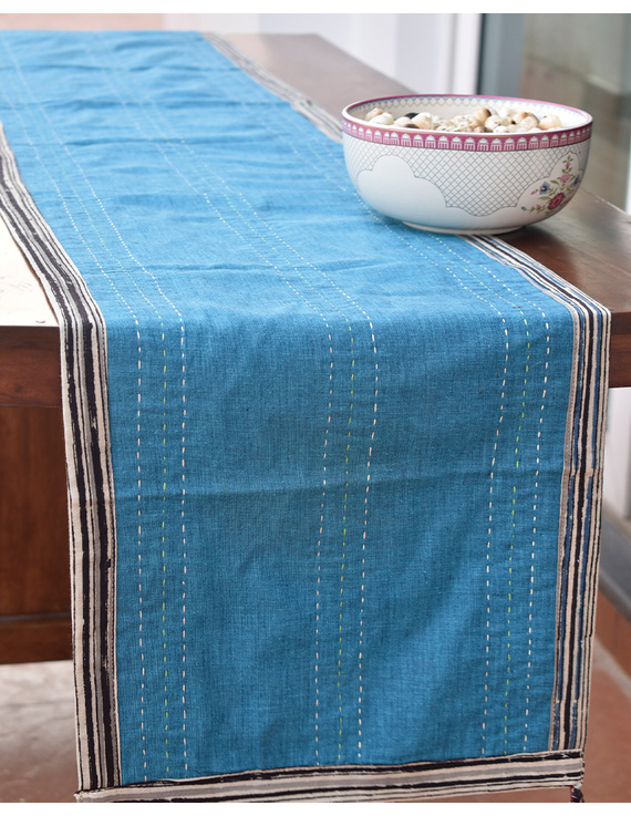 Red And Blue Embroidered Reversible Table Runner : HTR03-13 x 60-1