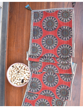 Red And Blue Embroidered Reversible Table Runner : HTR03-13 x 60-3-sm