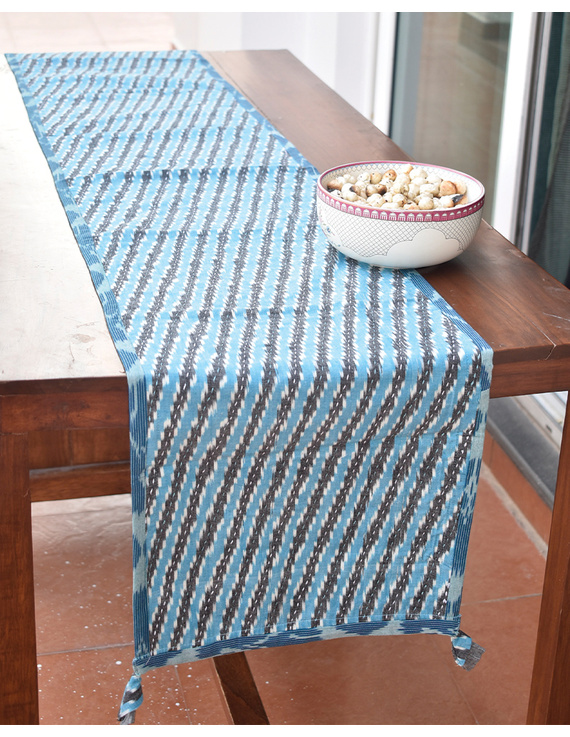 Blue And Grey Ikat Reversible Table Runner With Kantha Embroidery : HTR04-13 x 72-2
