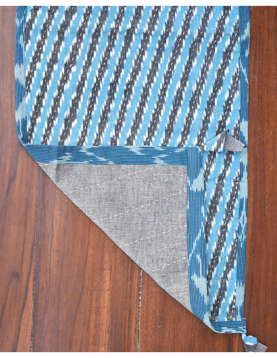 Blue And Grey Ikat Reversible Table Runner With Kantha Embroidery : HTR04-13 x 72-3