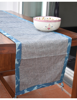 Blue And Grey Ikat Reversible Table Runner With Kantha Embroidery : HTR04-HTR04gM-sm