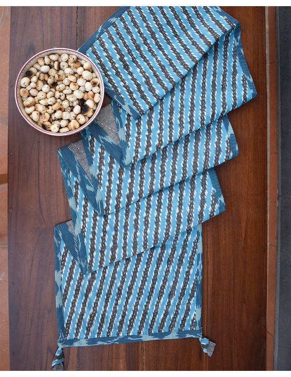 Blue And Grey Ikat Reversible Table Runner With Kantha Embroidery : HTR04-13 X 60-4