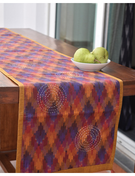 Maroon Ikat Reversible Table Runner With Hand Embroidery : HTR05-13 x 72-1-sm