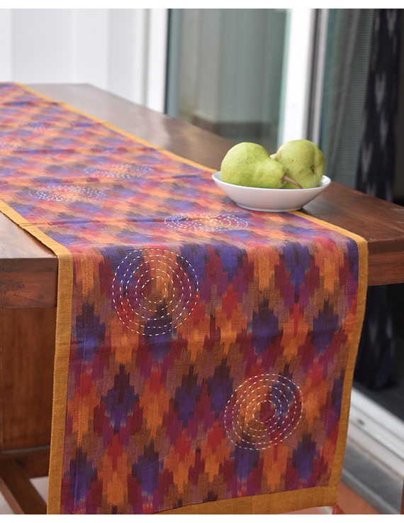 Maroon Ikat Reversible Table Runner With Hand Embroidery : HTR05-13 x 72-1