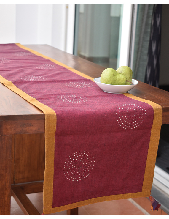 Maroon Ikat Reversible Table Runner With Hand Embroidery : HTR05-13 x 72-2