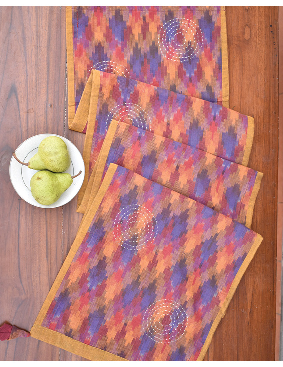 Maroon Ikat Reversible Table Runner With Hand Embroidery : HTR05-13 x 72-3