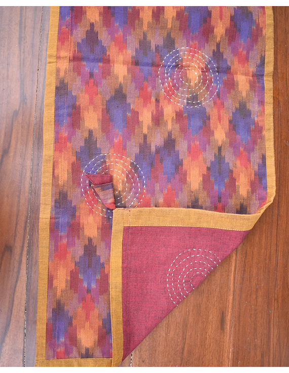 Maroon Ikat Reversible Table Runner With Hand Embroidery : HTR05-13 x 72-4