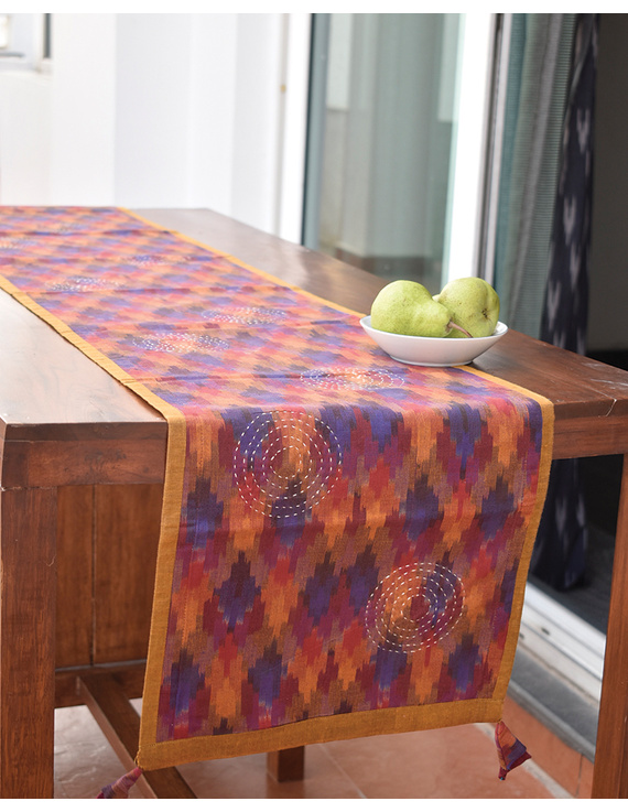 Maroon Ikat Reversible Table Runner With Hand Embroidery : HTR05-HTR05gM