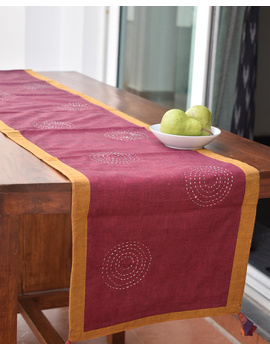 Maroon Ikat Reversible Table Runner With Hand Embroidery : HTR05-13 x 60-2-sm