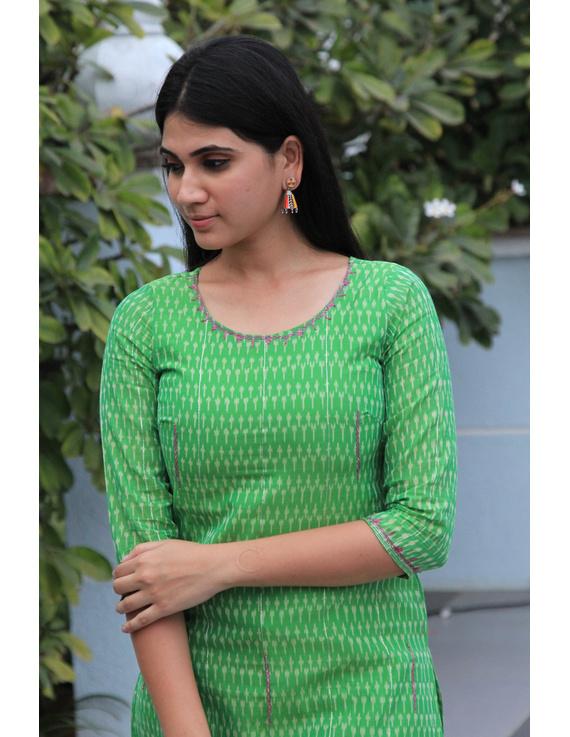 Light green ikat silk kurta with hand embroidery: LK450B-LK450B-XL
