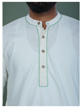 GENTS MUSLIN LONG KURTA WITH HAND EMBROIDERY : GT440A-L-3-sm