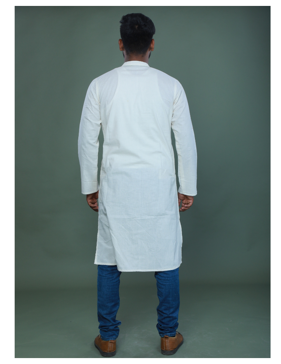 GENTS MUSLIN LONG KURTA WITH HAND EMBROIDERY : GT440A-M-2