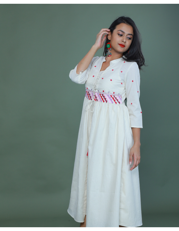 APPLIQUE WORK LONG JACKET DRESS WITH MATCHING INNER: LD710A-M-1