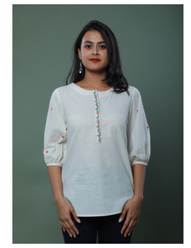 OFFWHITE TUNIC WITH EMBROIDERED PLACKET: LT130C-LT130Ch-M-sm