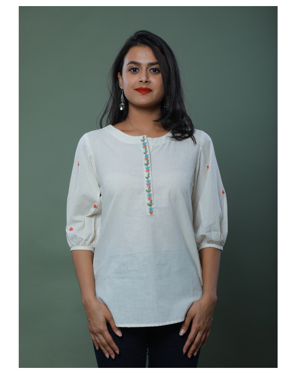 OFFWHITE TUNIC WITH EMBROIDERED PLACKET: LT130C-LT130Ch-M
