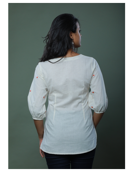 OFFWHITE TUNIC WITH EMBROIDERED PLACKET: LT130C-M-2-sm