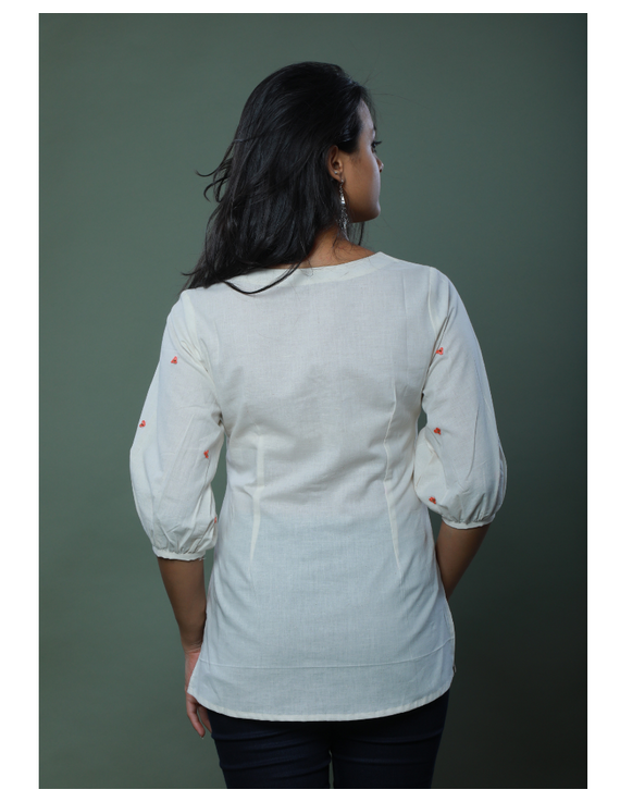 OFFWHITE TUNIC WITH EMBROIDERED PLACKET: LT130C-M-2