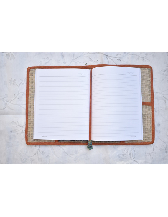 Hand embroidered diary sleeve with journal - STJ06-2