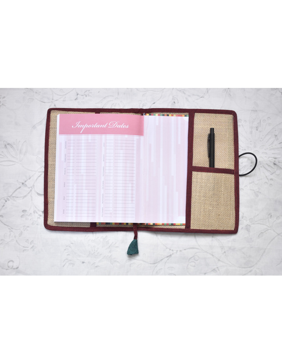 Hand embroidered diary sleeve with journal - STJ07-STJg07A