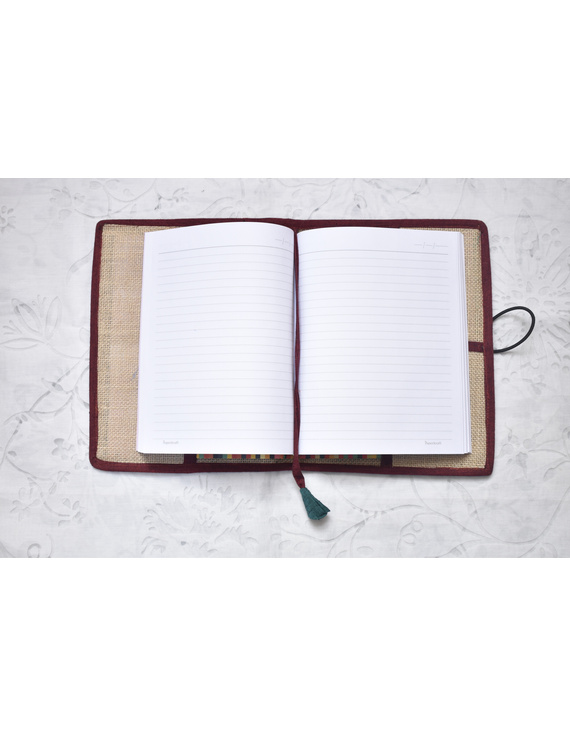 Hand embroidered diary sleeve with journal - STJ07-2